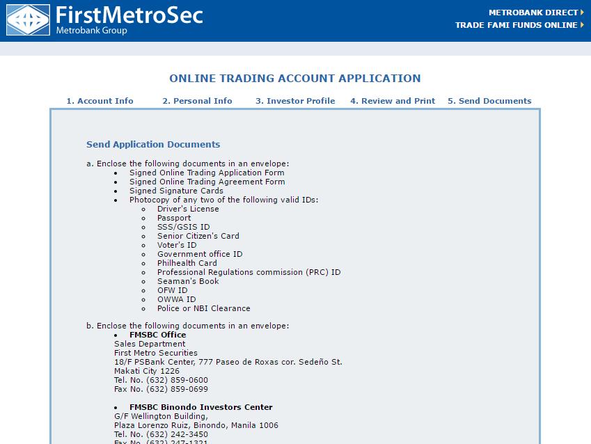 open a First Metro Sec Online