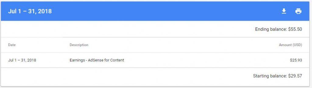 July 2018 Google Adsense Earning