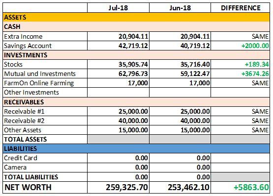 July 2018 Net Worth
